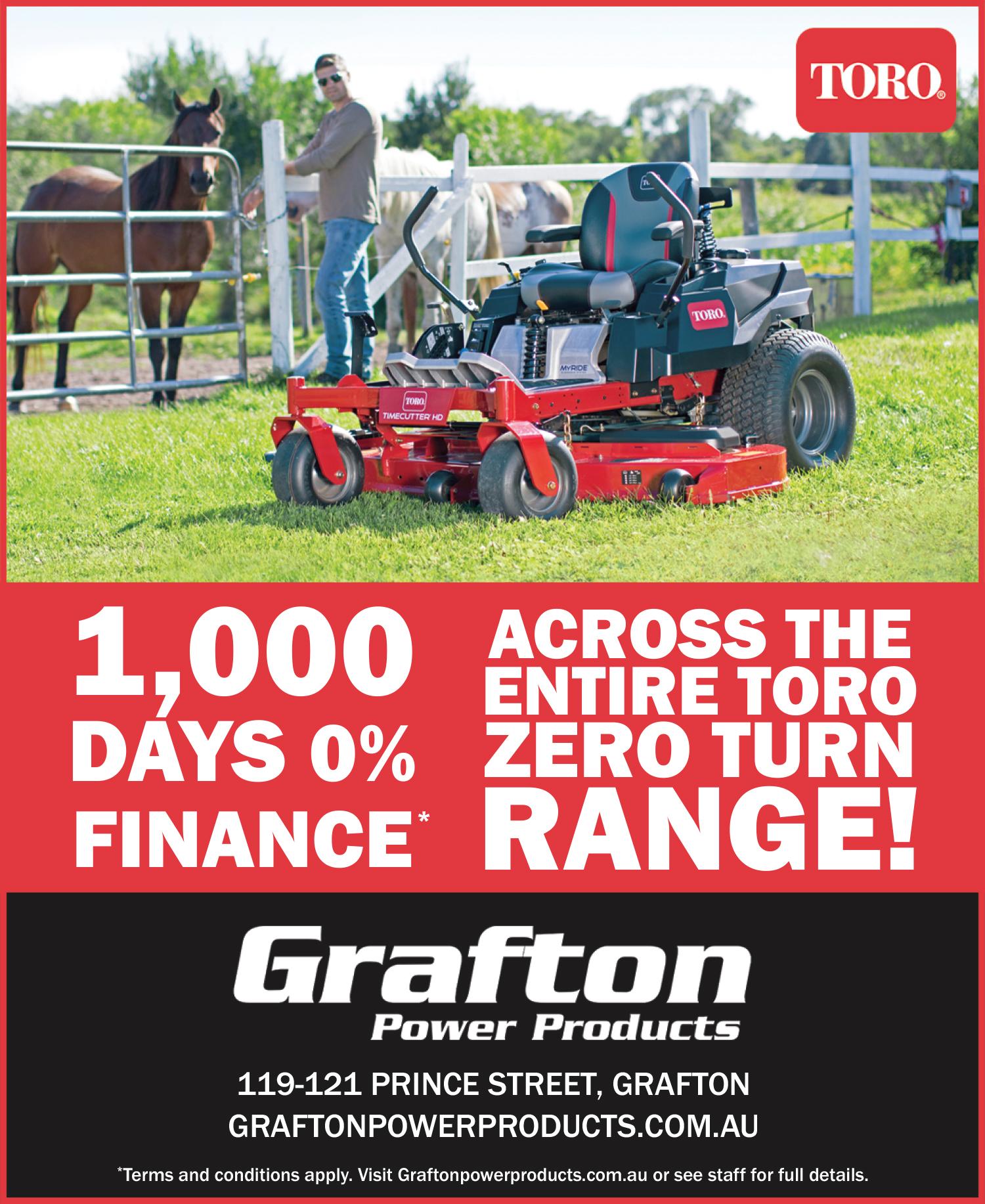 Get your new Toro Zero Turn Mower on 1,000 Days 0% Finance